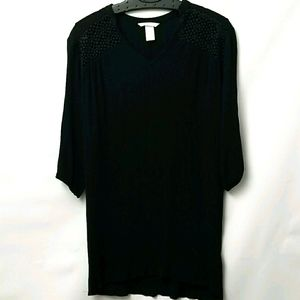H&M Womens Embroidery And Pleated Top Sz 4
